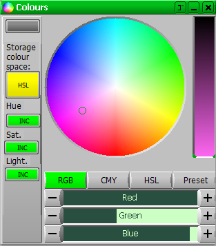 Colour Select - a wheel showing all available colours