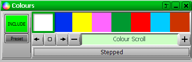 Colour Picker: a series of coloured boxes